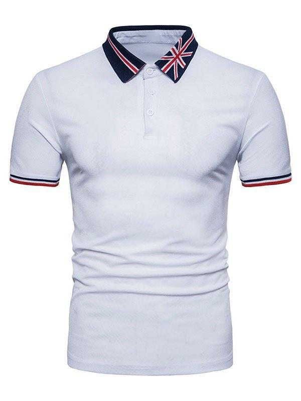 Men's Embroidered Polo Neck Tee - White M
