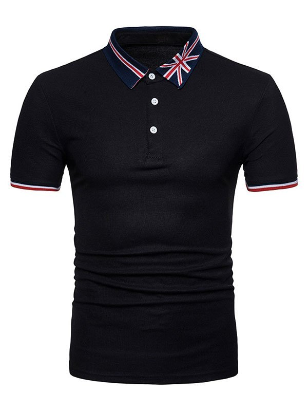 Men's Embroidered Polo Neck Tee - Black M