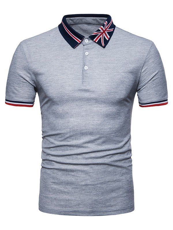 Men's Embroidered Polo Neck Tee - Gray M