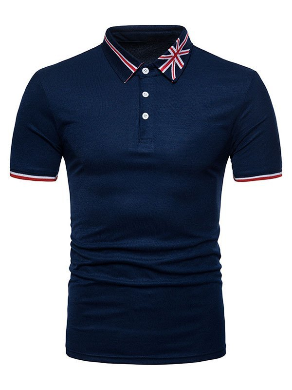 Men's Embroidered Polo Neck Tee - Navy Blue S
