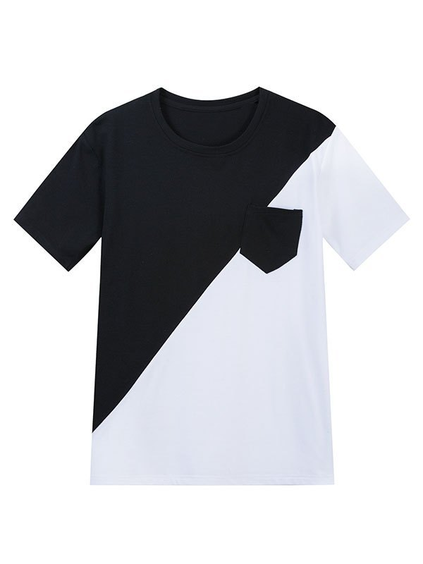 Men's Cotton Patchwork Short Sleeve Tee - multicolorple Colors XL