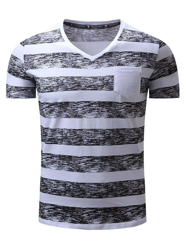 Men's V Neck Stripe Print Tee - Black 2XL