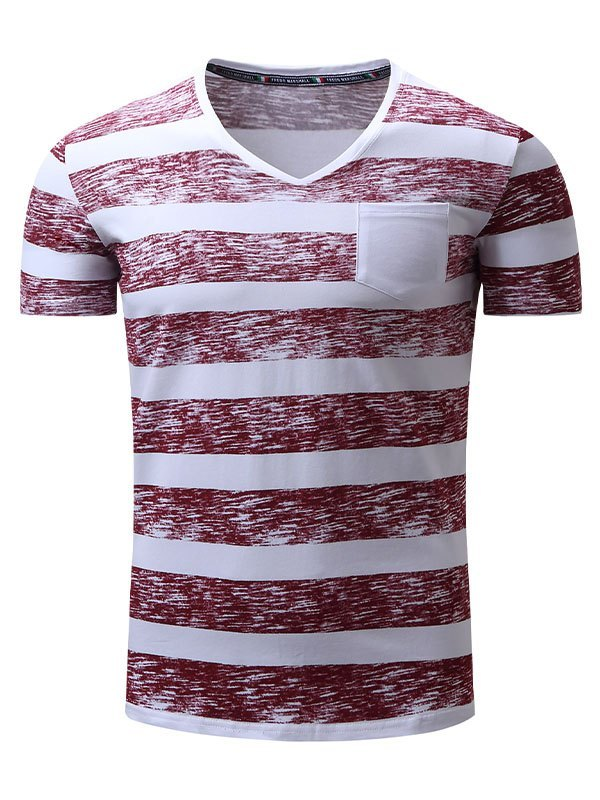 Men's V Neck Stripe Print Tee - Red 2XL