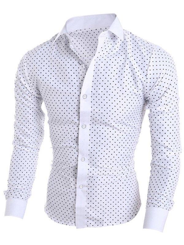 Chemise à manches longues à imprimé étoiles pour hommes - Blanc L