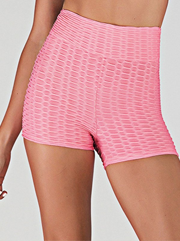 Jacquard Stretch Butt Lift Active Shorts - Pink S