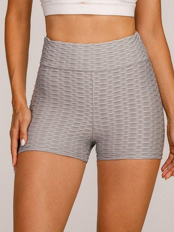 Jacquard Stretch Butt Lift Active Shorts - Gray L
