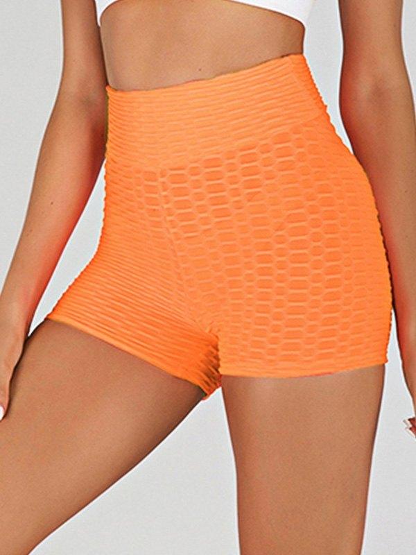 Jacquard Stretch Butt Lift Active Shorts - Orange S