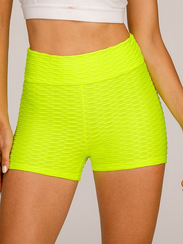 Jacquard Stretch Butt Lift Active Shorts - Yellow L