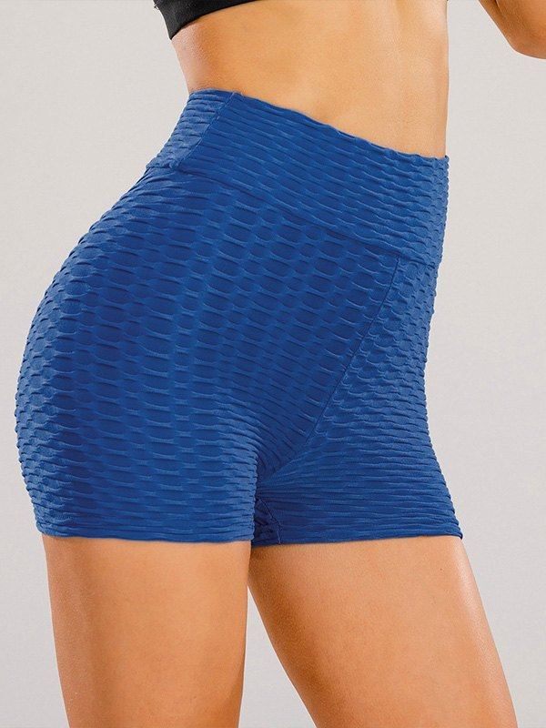 Jacquard Stretch Butt Lift Active Shorts - Blue XL