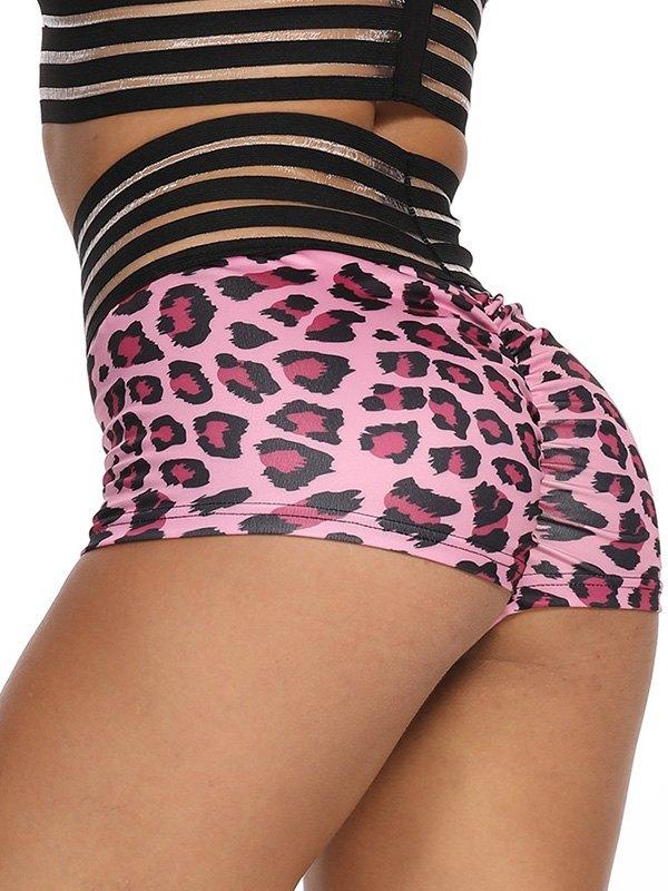 Butt Lift Leopard Print Active Shorts - Pink L