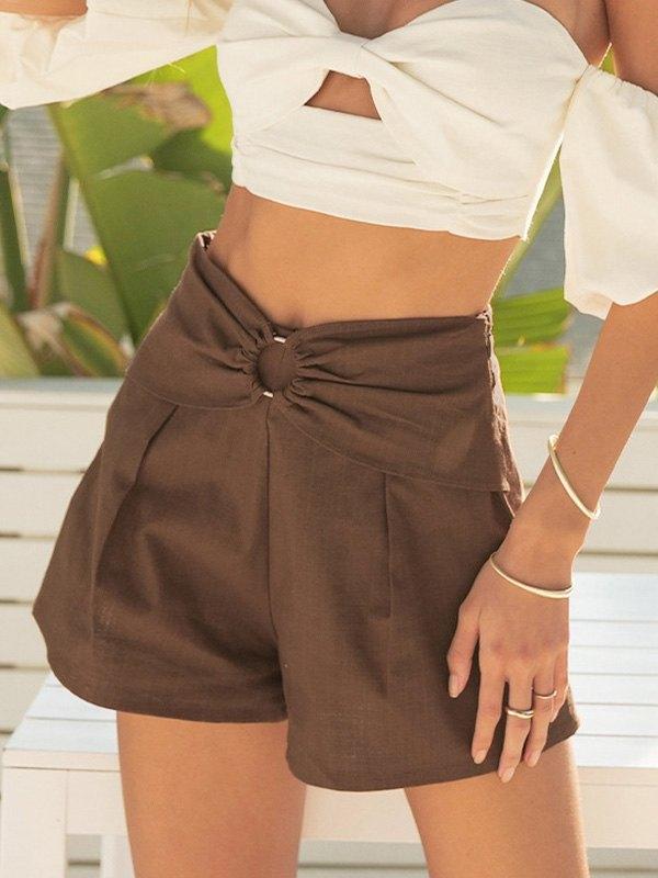 Cotton Linen Straight Shorts - Brown L