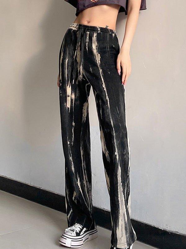 Pantaloni a gamba dritta a vita alta tie-dye - Grigio M