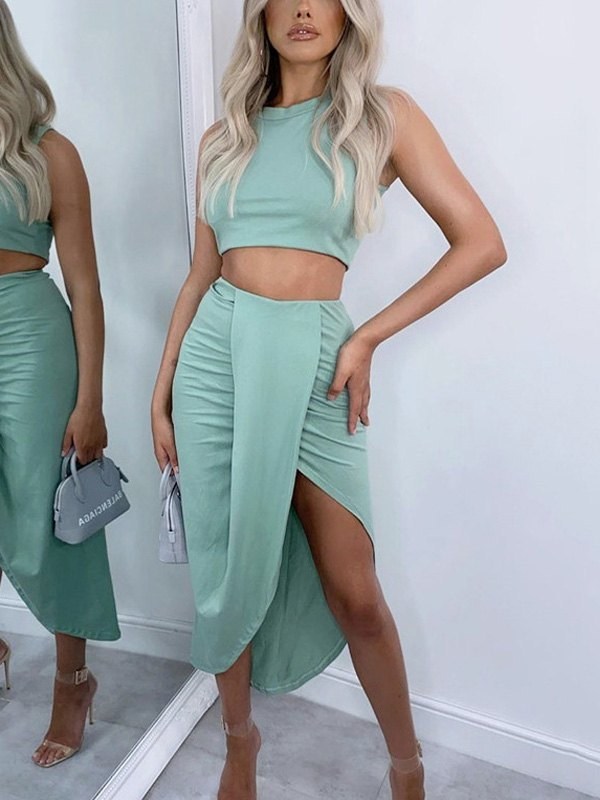 Ruched Irregular Skirt Set - Biscay Green M