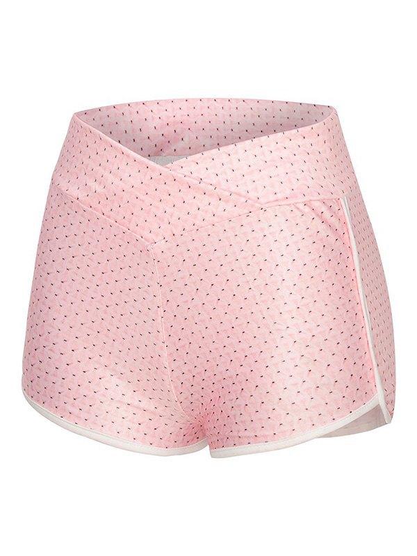 Jacquard Butt Lift Active Shorts - Pink 2XL
