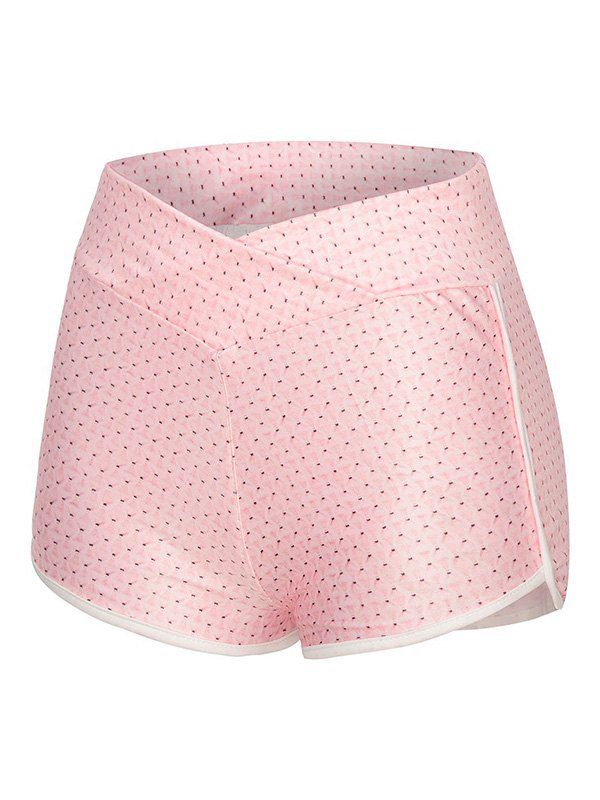 Jacquard Butt Lift Active Shorts - Pink L