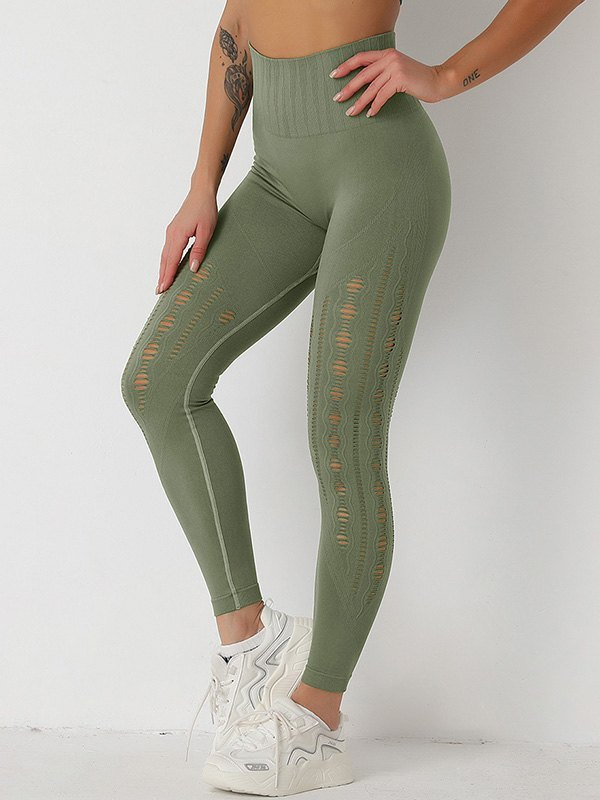 Distressed Butt Lift Active Legging - Chive L