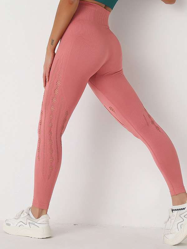 Distressed Butt Lift Active Legging - Pink S
