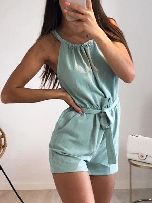 Cotton Linen Cami Romper - Biscay Green XL