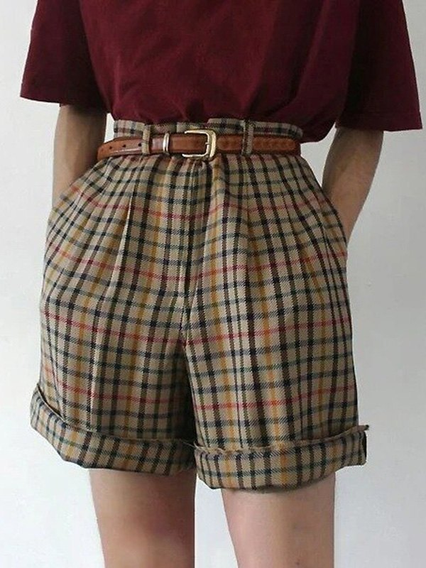 Vintage Checked Cuffed Shorts - Coffee M