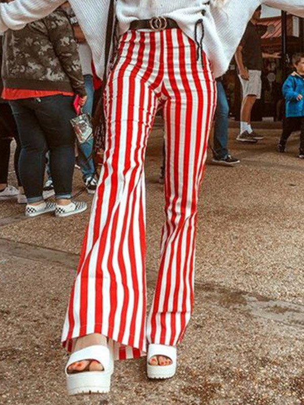 Pantaloni a gamba svasata con stampa a righe - Rosso M