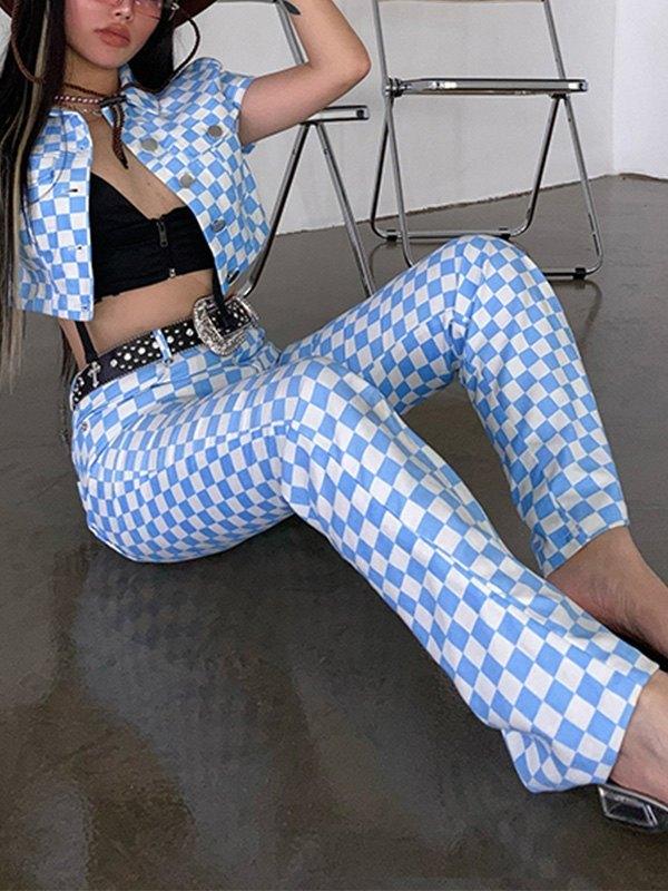 Checkered Print Straight Leg Pants - Pure Blue L