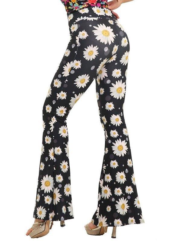 Daisy Print Flare Leg Pants - Black L