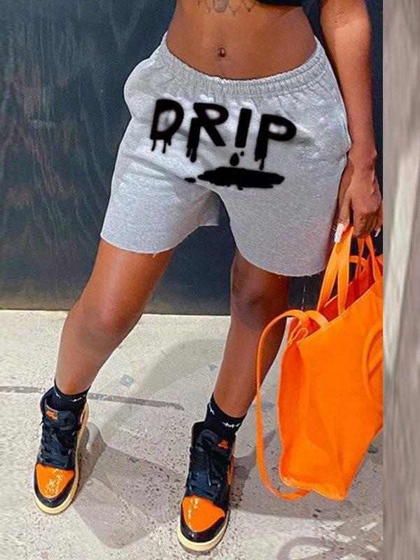 Drip Graphic Sweat Shorts - Gray M