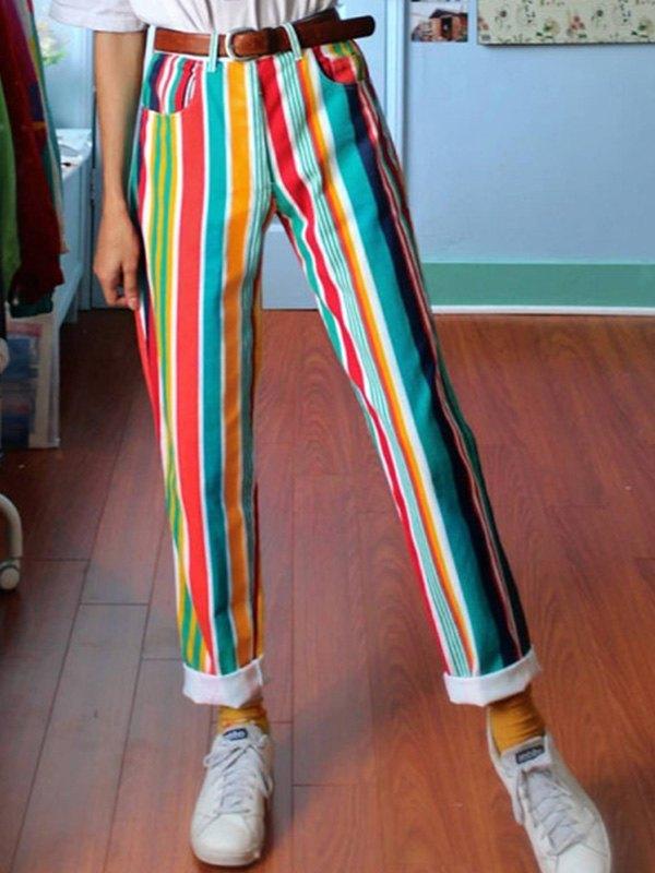 Pantaloni a gamba dritta a righe arcobaleno - Verde turchese L