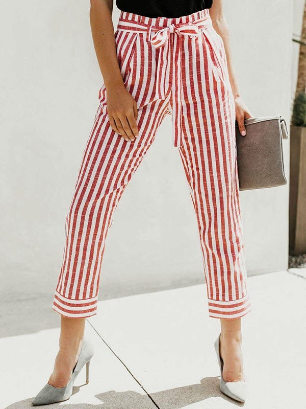 Belted Stripe Print Cropped Pants - Red S