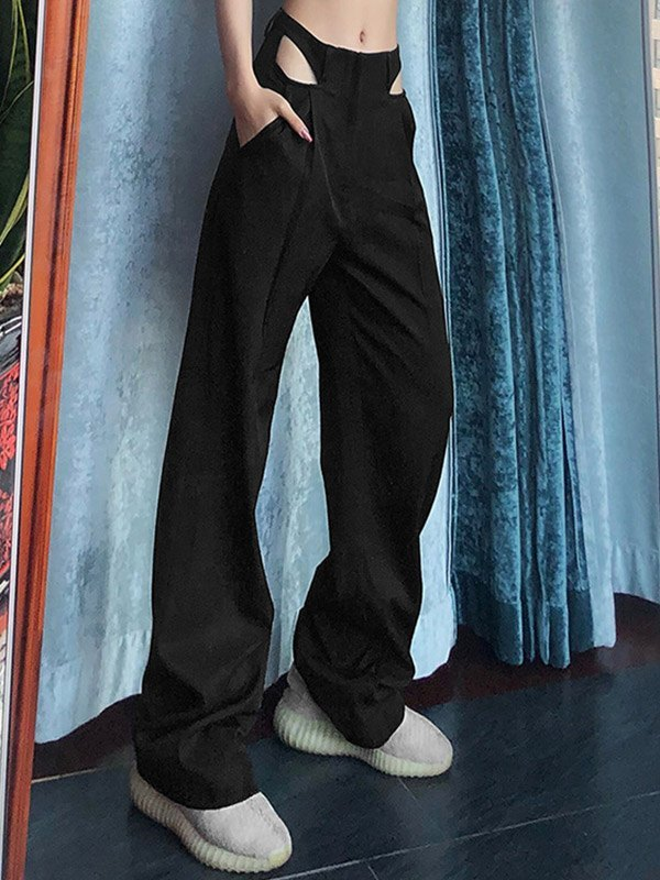 Cutout High Rise Straight Leg Pants - Black M