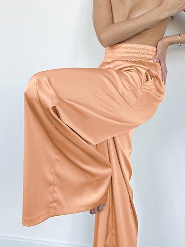 Comfy Satin Wide Leg Pants - Honey Orange M