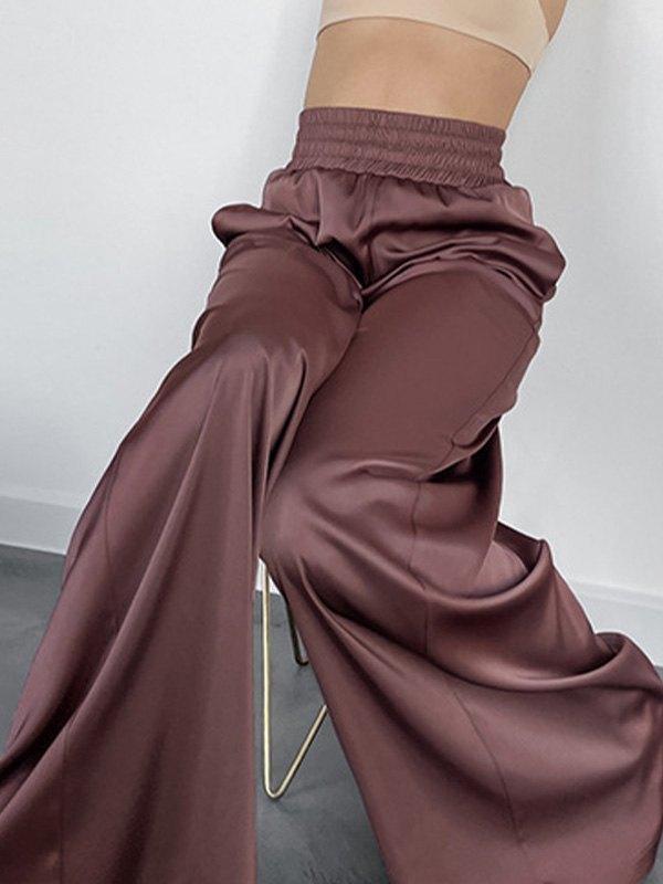 Comfy Satin Wide Leg Pants - Caramel L