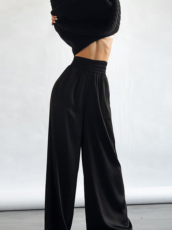 Comfy Satin Wide Leg Pants - Black M
