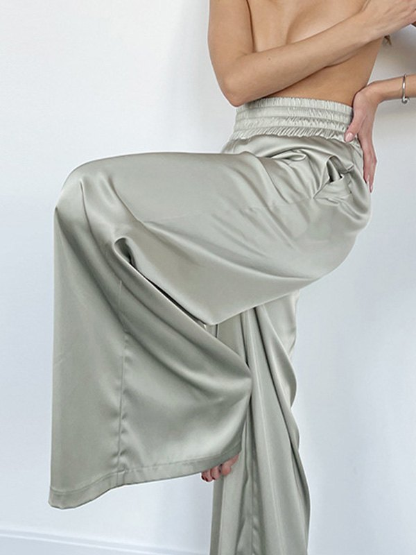 Comfy Satin Wide Leg Pants - Biscay Green M