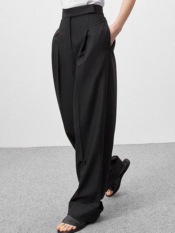 Draped Wide Leg Tailored Pants - Black S