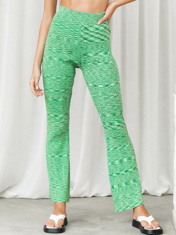 Jacquard Straight Leg Pants - Green S