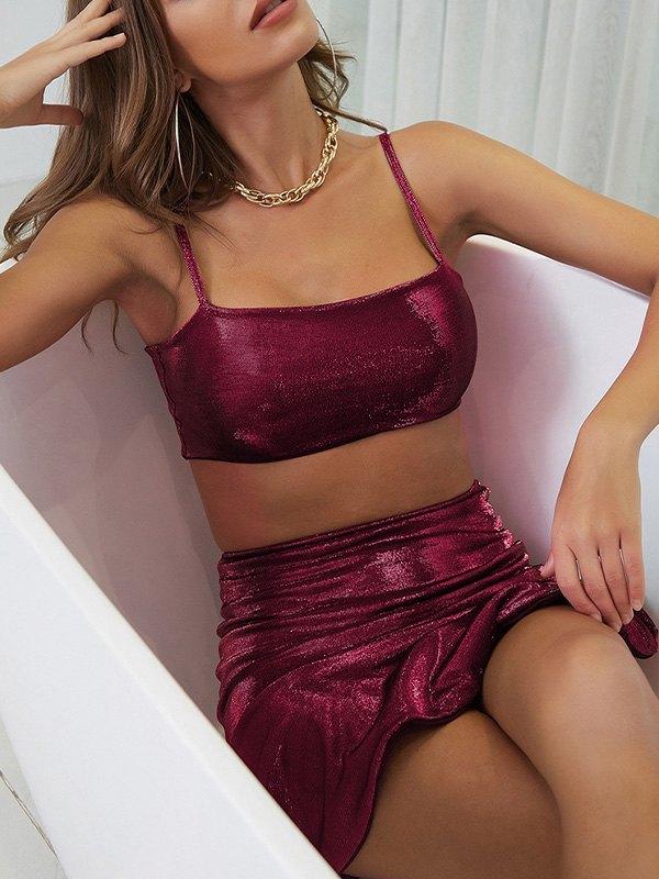 Velvet Metallic Skirt Set - Beetroot Purple M