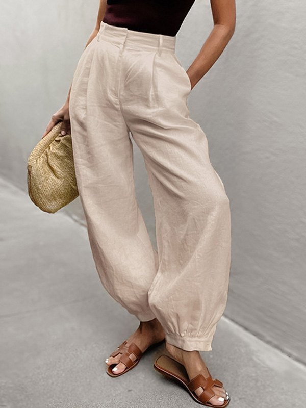 Cotton Linen Tapered Cropped Pants - Apricot L