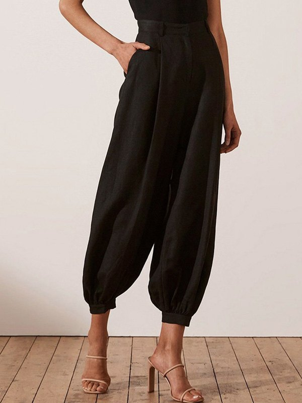 Cotton Linen Tapered Cropped Pants - Black S