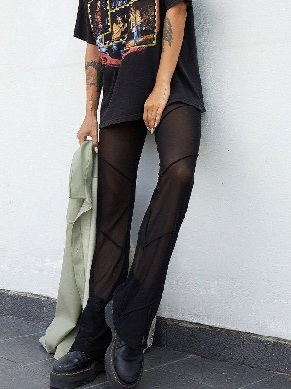 Sheer Mesh Splice Flare Leg Pants - Black M