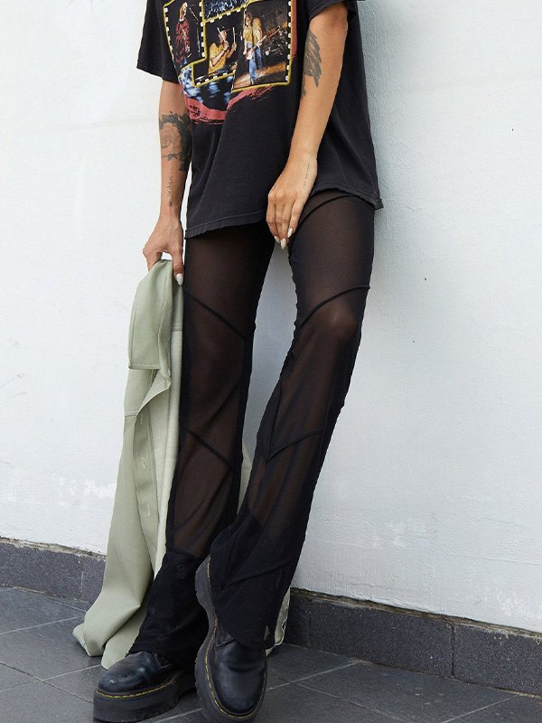 Sheer Mesh Splice Flare Leg Pants - Black S
