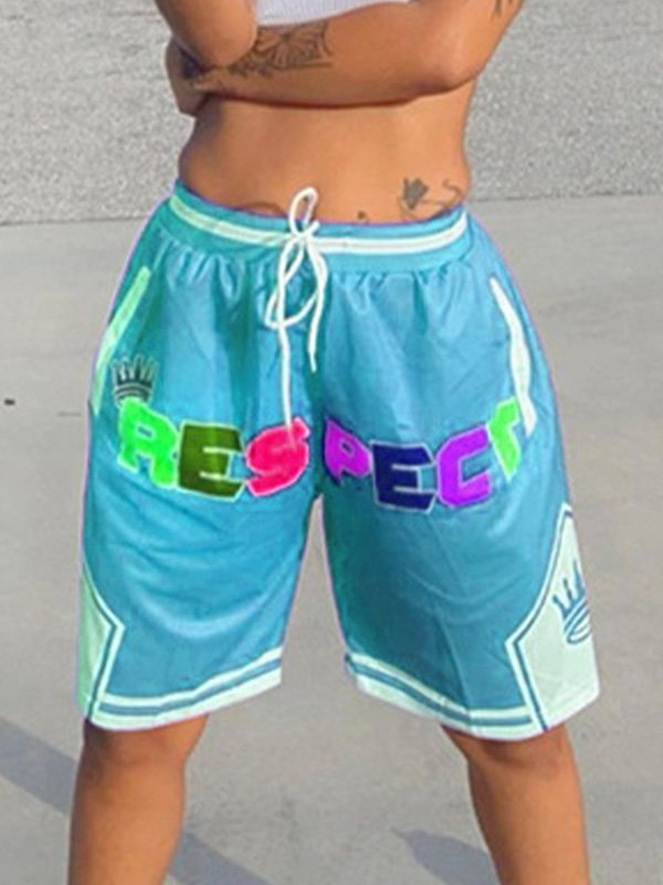 Rainbow Letter Graphic Sweat Shorts - Pure Blue S