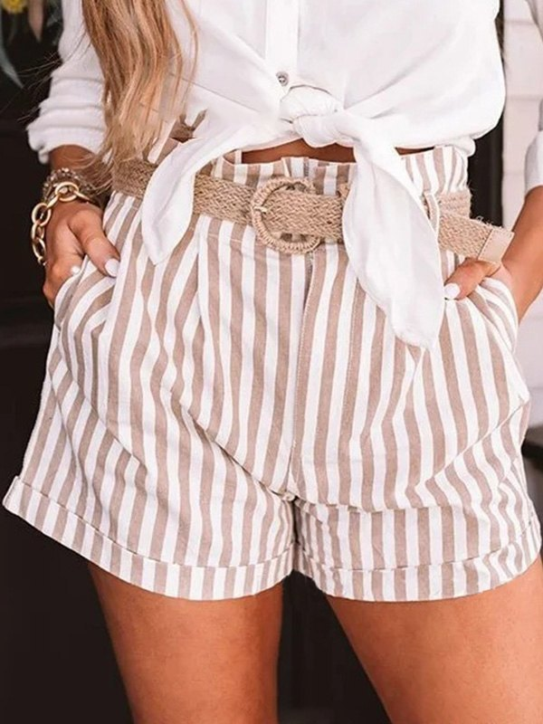 Cotton Blend Striped Cuffed Shorts - Apricot XL