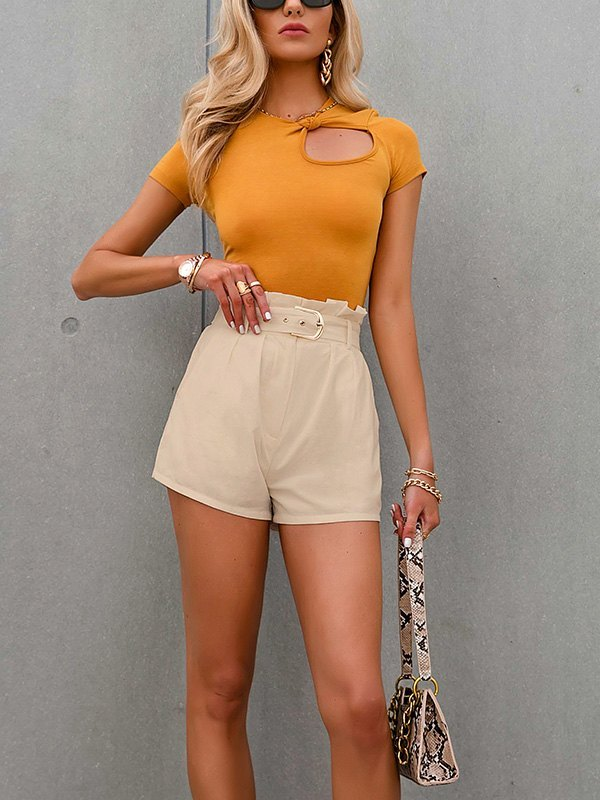 Cotton High Rise Belted Shorts - Apricot M