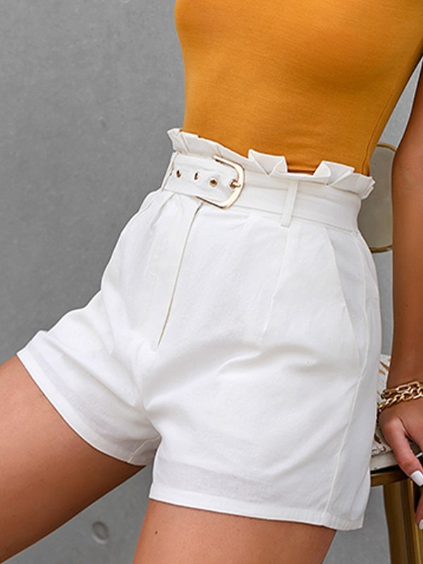 Cotton High Rise Belted Shorts - White L