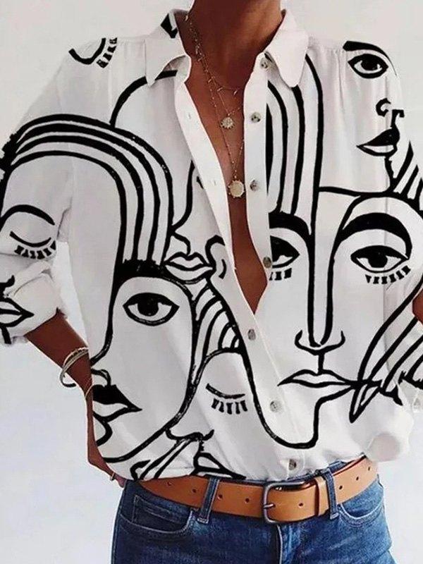 Monochrome Face Print Blouse - White M