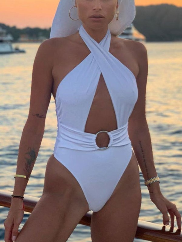 Cross Over Halter One-Piece Swimsuit - White M