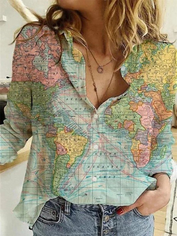 World Map Long Sleeve Blouse -