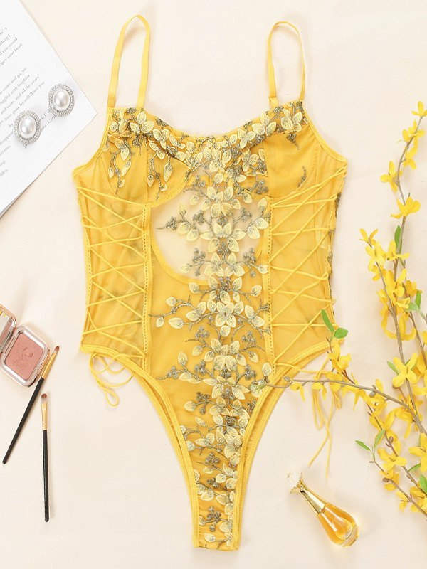 Sheer Mesh Embroidered Lace-Up Bodysuit - Yellow L