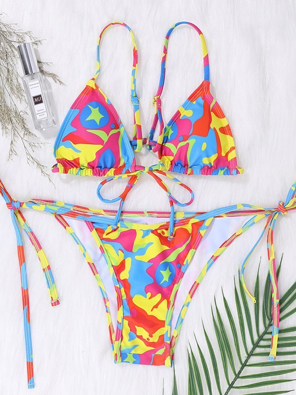 Bikini con lacci scintillanti - Arancia S